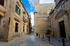 Architecture of Mdina on Malta. Beautiful sandstone architecture cistyscape of Mdina silent city on Malta island. Beautiful landscape in south Europe Stock Photo
