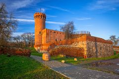Architecture of medieval Teutonic Castle in Swiecie. Medieval Teutonic Castle in Swiecie, Poland Stock Photo