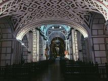 Architecture merveilleuse de photographie de Catedral d'endroit de beauté d'église foncée de Lima de mur Photo stock