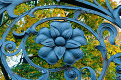 Architecture metal element in form of flower at the art metal fence of Mikhailovsky garden in St Petersburg,Russia Royalty Free Stock Images