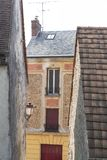 Architecture of the Middle Ages in France. Detail of an old house in the Chevreuse Valley near Paris in France stock images