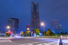 Architecture of Minato Mirai 21 district in Yokohama at night Stock Photos