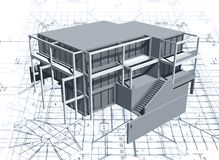 Architecture model house with blueprint. Vector. Illustration Royalty Free Stock Photo