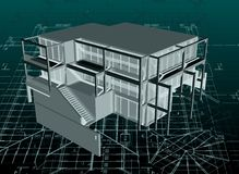 Architecture model house with blueprint. Vector Royalty Free Stock Photos