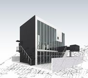 Architecture model house with blueprints. Vector Stock Image