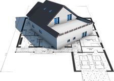 Architecture Model House On Top Of Blueprints Royalty Free Stock Images