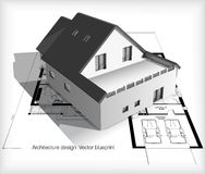 Architecture Model House On Top Of Blueprints Stock Photo