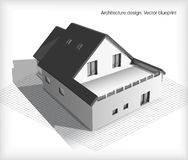 Architecture Model House On Top Of Blueprints Royalty Free Stock Photos