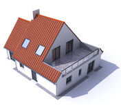 Architecture model residential aerial b. 3D architecture model of a house, aerial view Royalty Free Stock Photos