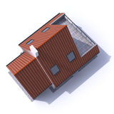 Architecture model residential aerial c. 3D architecture model of a house, aerial view Stock Photos