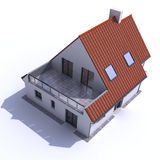Architecture model residential aerial d. 3D architecture model of a house, aerial view Royalty Free Stock Photo