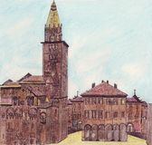 Architecture in Modena, Italy. A sketch to pen and colored pencils of architectures in Modena Royalty Free Stock Photography