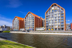 Architecture of modern apartments at Motlawa river in Gdansk Stock Photo
