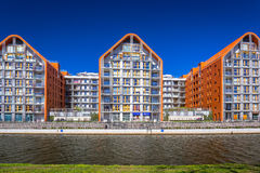 Architecture of modern apartments at Motlawa river in Gdansk Royalty Free Stock Images