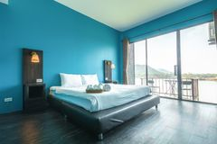 Bed room. Architecture, modern bed room, beautiful interiors wide angle view Stock Images