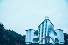 Architecture of a modern church. With gray sky Royalty Free Stock Images