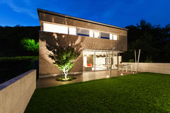 Architecture modern design, house, outdoor. Architecture modern design, beautiful house, night scene stock images