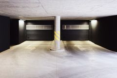 Architecture of modern European garage of residential quarter. Architecture of a modern European garage of residential quarter royalty free stock photo