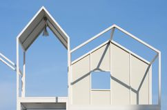 architecture modern white steel frame decorate on blue sky background stock image