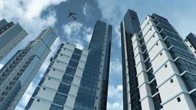 Architecture moderne avec le rendu réfléchissant en verre 3D Photos stock