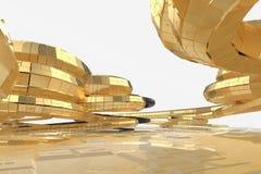 Architecture moderne de résumé la future contient les bâtiments en forme étrange sous forme de spirales dirigées vers le haut faç illustration libre de droits