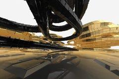 Architecture moderne de résumé la future contient les bâtiments en forme étrange sous forme de spirales dirigées vers le haut faç illustration de vecteur