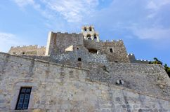 Architecture of the monastery of Saint John the Theologian in Patmos island, Dodecanese, Greece. Architecture of the monastery of Saint John the Theologian in Stock Images