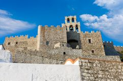 Architecture of the monastery of Saint John the Theologian in Patmos island, Dodecanese, Greece. Architecture of the monastery of Saint John the Theologian in Stock Image