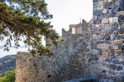 Architecture of the monastery of Saint John the Theologian in Patmos island, Dodecanese, Greece. Architecture of the monastery of Saint John the Theologian in Royalty Free Stock Photo