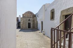 Architecture of the monastery of Saint John the Theologian in Patmos island, Dodecanese, Greece. Architecture of the monastery of Saint John the Theologian in Royalty Free Stock Image