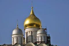 Architecture of Moscow Kremlin. Archangels cathedral. Moscow Kremlin architecture. Archangels cathedral. Popular landmark. UNESCO World Heritage Site. Color Stock Photos
