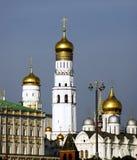 Architecture of Moscow Kremlin. Archangels cathedral. Moscow Kremlin architecture. Archangels cathedral. Popular landmark. UNESCO World Heritage Site. Color Stock Photo