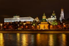 Architecture of Moscow Kremlin with illumination. Night landscape of Moscow historical center royalty free stock images