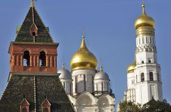 Architecture of Moscow Kremlin. Ivan Great Bell tower and Archangels cathedral. Moscow Kremlin architecture. Ivan Great Bell tower and Archangels cathedral Stock Photo