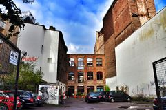 The architecture of narrow streets in Cologne Germany Royalty Free Stock Images