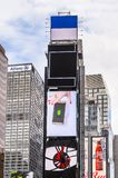 Architecture of New York, USA. NEW YORK, USA - SEP 22, 2015: Publicity screens at the Times Square, a major commercial neighborhood in Midtown Manhattan, New stock photos