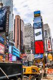 Architecture of New York, USA. NEW YORK, USA - SEP 22, 2015: Publicity screens at the Times Square, a major commercial neighborhood in Midtown Manhattan, New royalty free stock images
