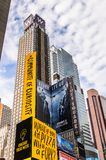Architecture of New York, USA. NEW YORK, USA - SEP 22, 2015: Publicity screens at the Times Square, a major commercial neighborhood in Midtown Manhattan, New royalty free stock photography