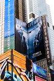 Architecture of New York, USA. NEW YORK, USA - SEP 22, 2015: Publicity screens at the Times Square, a major commercial neighborhood in Midtown Manhattan, New royalty free stock image