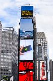 Architecture of New York, USA. NEW YORK, USA - SEP 22, 2015: Publicity screens at the Times Square, a major commercial neighborhood in Midtown Manhattan, New royalty free stock photo