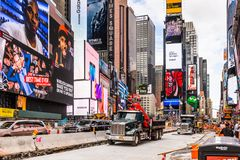 Architecture of New York, USA. NEW YORK, USA - SEP 22, 2015: Publicity screens at the Times Square, a major commercial neighborhood in Midtown Manhattan, New stock photo