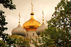 Architecture of Novodevichy convent in Moscow. Smolensk Icon church Stock Photos
