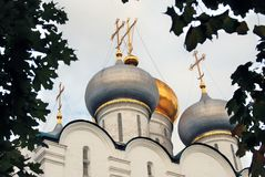 Architecture of Novodevichy convent in Moscow. Smolensk Icon church Royalty Free Stock Images