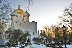 Architecture of Novodevichy convent in Moscow. Smolensk Icon church. Smolensk Icon church. Architecture of Novodevichy convent in Moscow. Popular touristic Stock Photo