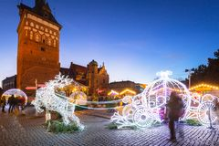 Free Architecture Of The Old Town In Gdansk At Dusk With Christmas Lights, Poland Royalty Free Stock Photo - 142137315