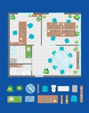 Architecture Office Plan with Furniture and Part Top View. Vector Royalty Free Stock Photos