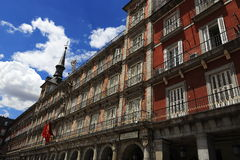 The architecture of the old buildings in Plaza Mayor, Madrid, Spain Stock Photography