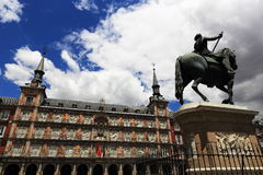 The architecture of the old buildings in Plaza Mayor, Madrid, Spain Royalty Free Stock Image