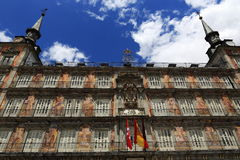 The architecture of the old buildings in Plaza Mayor, Madrid, Spain Stock Photo