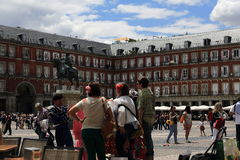 The architecture of the old buildings in Plaza Mayor, Madrid, Spain Royalty Free Stock Images